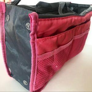 Pink Gray Nylon Bag Purse Organizer Zip Pockets
